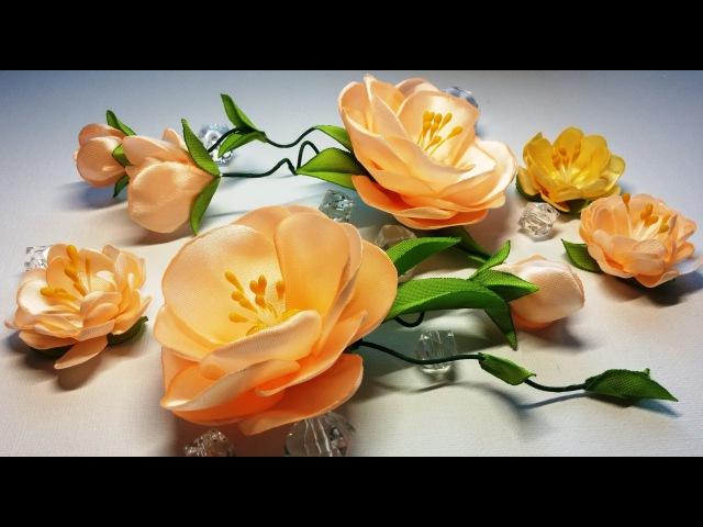 Ribbon flowers:quick and easy/Flores de las cintas:rápida y fácil/Цветы из лент:быстро и легко.МК