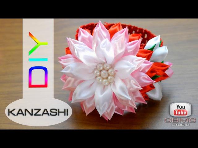 Повязка на голову с цветком Канзаши МК Рукоделие DIY Hand Made Kanzashi