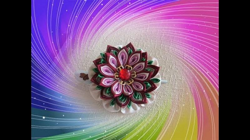 Заколка-стрела канзаши с многослойным цветком/Kanzashi/DIY/Tutorial