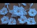 Нарядная лента в косу с необычными ромашками канзаши к 1 сентября