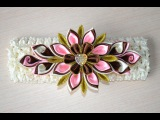 Повязка на голову Мастер класс канзаши видео DIY headband kanzashi handmade ribbons Haarschmuck