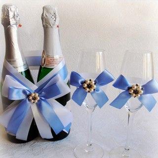 Украшение шампанского на свадьбу своими руками лентами на свадьбу своими руками
