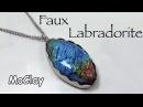 DIY Faux labradorite wrap pendant with silver shaped frame