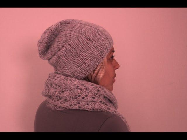 Ультрамодная удлиненная шапка БИНИ спицами. Мастер-класс. Современное вязание в тренде!