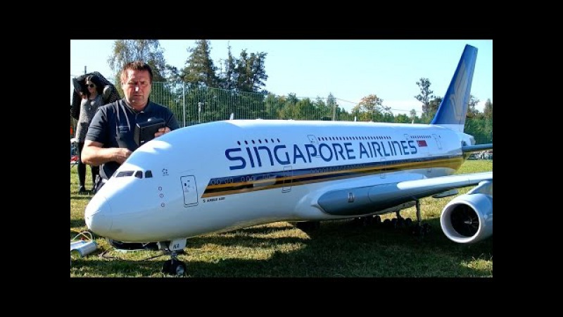 A-380 800 GIGANTIC XXXL 71KG RC SCALE 1:15 MODEL AIRLINER FLYING DISPLAY / Hausen am Albis 2015