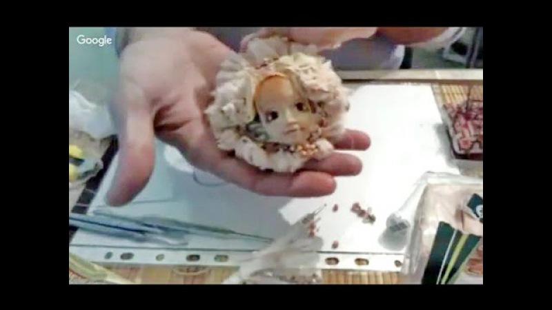 Бохо брошь из ткани с декором из полимерной глины ✿ Николай Павлов лепка из полимерной глины ✿