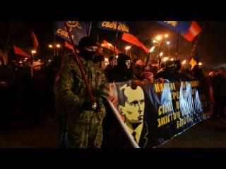 В Одессе в честь Степана Бандеры прошло факельное шествие