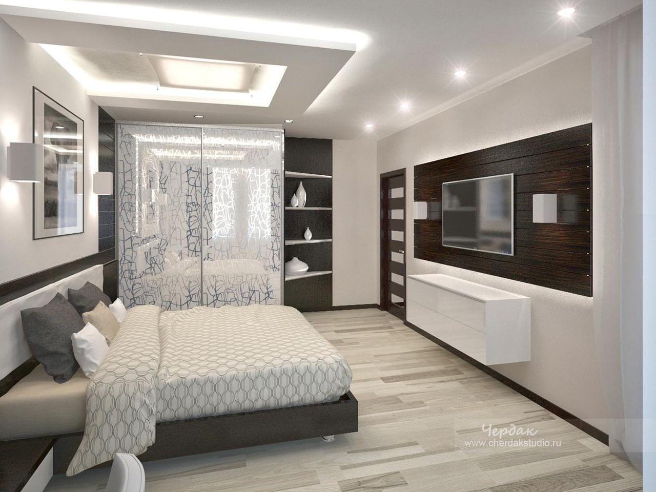 Дизайн спальни хай-тек фото