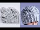 Вязание шапки спицами Листочки. How to Knit a HAT