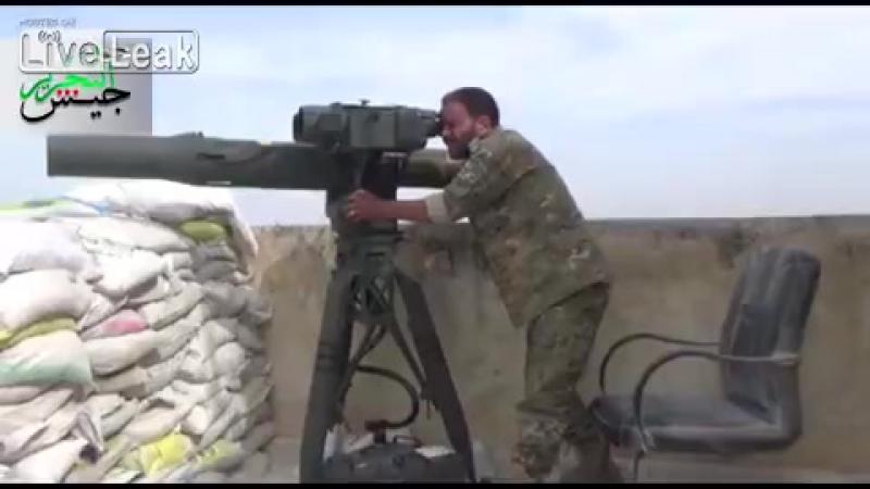 Сирия.Боевики ССА уничтожают из ПТРК BGM-71 TOW гантрак САА.Алеппо.Май 2016.