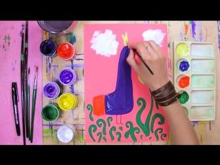 Как нарисовать Жар-Птицу - урок рисования для детей от 4 лет, гуашь,  рисуем дома поэтапно