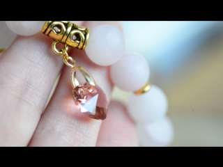 Браслет из розового кварца с сердечком Сваровски