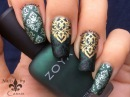 Green Damask Stamping Nail Art