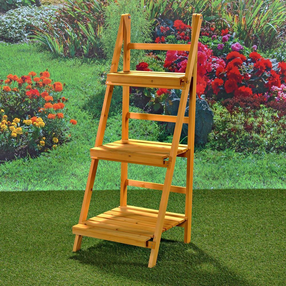 Jardinera estanter a estante para flores mesetas escalera for Balancines de madera para jardin