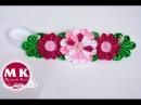 Канзаши мастер-класс. Афинка для волос. Композиция цветов Канзаши/Kanzashi Flower.DIY Ribbon
