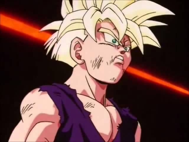Gohan se irrita e se transforma em Super Sayajin 2