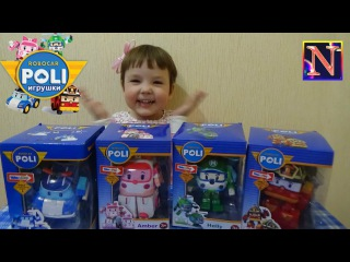 Робокар Поли игрушка трансформер распаковка Эмбер Рой Хэлли Robocar Poli toy transformer  unboxing