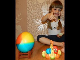 Красим пасхальные яйца (страусиные, куриные).Распаковываем огромный Киндер Сюрприз