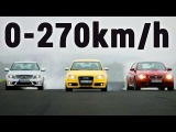 BMW M3 E92 vs Audi RS4 B7 vs Mercedes Benz C63 AMG W204 - Acceleration 0-270km/h Exhaust Sound