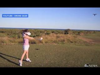 Girl Destroys Drone With Golf Ball