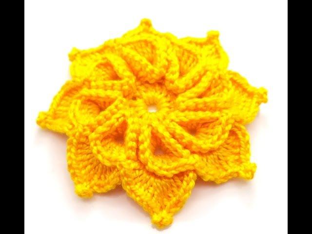 Flor amarela de oito pétalas