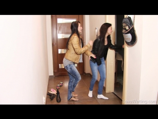 LoveWetting - Keira and Lexi Dona Fighting for the Bathroom, Pee Desperation Dance, Almost Made It, Jeans and Pink Panties