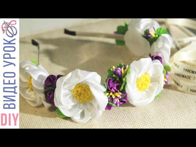 Ободок из шиповника Канзаши с тычинками Полевые цветы | Kulikova Anastasia