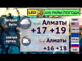 Прогноз погоды и курс валют на 31.03 в Алматы и Астане