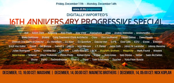 Digitally Imported's 16th Anniversary Progressive Special