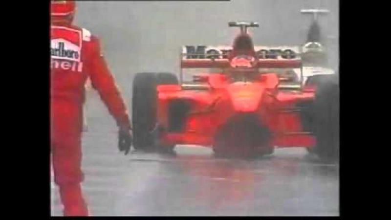 Schumacher vs Coulthard Spa 1998.