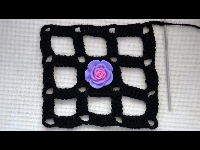 ♥ Узор Ячейки или крупная сетка крючком Мастер класс и схема вязания
