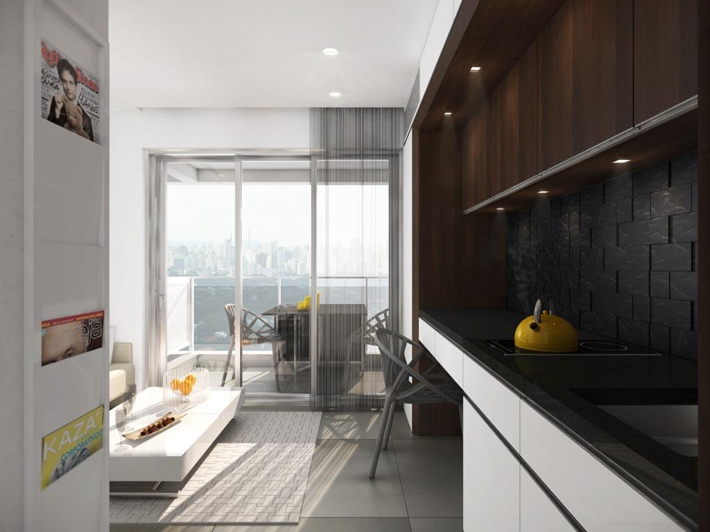 Проект маленькой квартиры-студии 19 м с откидной кроватью-диваном.