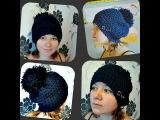 зимняя женская шапка, рисунок звездочки,  вязание крючком  - Women's winter hat, drawing an asterisk