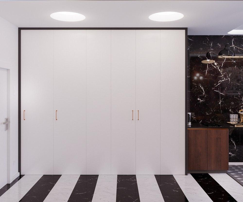 Проект студии 30 м с частично скрытой кухней.