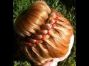Прическа на длинные и средние волосы - Праздничный пучок и коса из 4 прядей с лент