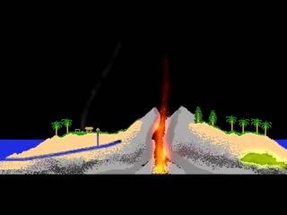 Падение метеорита на остров (The Powder Toy)