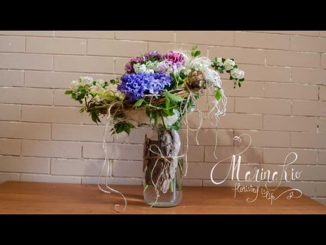 Флористика Букет цветов на каркасе (Мастер класс) Floral tutorial. Flowers.