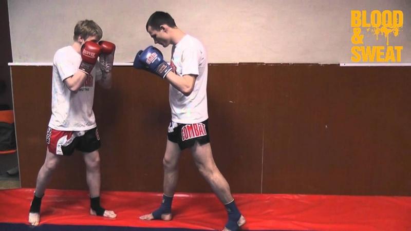 Тайский бокс. Комбинация удара коленом с финтом подшагом. Александр Суржко.