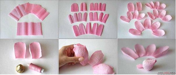 Розы из гофрированной бумаги своими руками с конфетами пошагово