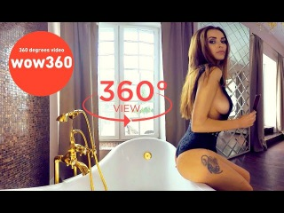 VR 360 video - Lady Olga relaxing in bath and eating ice cream (bikini model in 360 degree video)