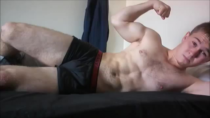 Hairy Muscleboy Jake Flexing Sexy Muscles Lying In Bed