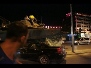 Turkey Coup - Footage From Inside Turkish Parliament Shows Airstrike Hitting + Tanks Run Over Cars