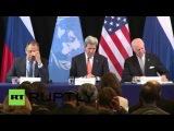 Лавров и Керри проводят пресс-конференцию по итогам встречи Международной группы поддержки Сирии