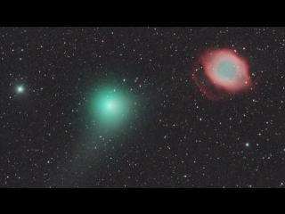 Сближение кометы C/2013 X1 (PanSTARRS) с планетарной туманностью «Улитка» NGC 7293 4 июня 2016 года