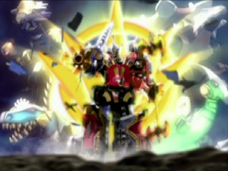 Power Rangers Dino Thunder - All Megazord Transformations and Finishers.