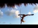 Anastasia Sokolova Poledancer Pole dance on the beach of paradise hotel Desire Pearl Cancun