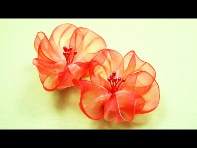 Воздушные ЦВЕТЫ из Лент Мастер класс Ribbon Flowers Tutorial ✿ NataliDoma