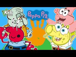 Finger Family songs. Nursery Rhymes! Peppa Pig SPONGEBOB Patrick Star Mr Krabs Squidward | KIDS ZONE