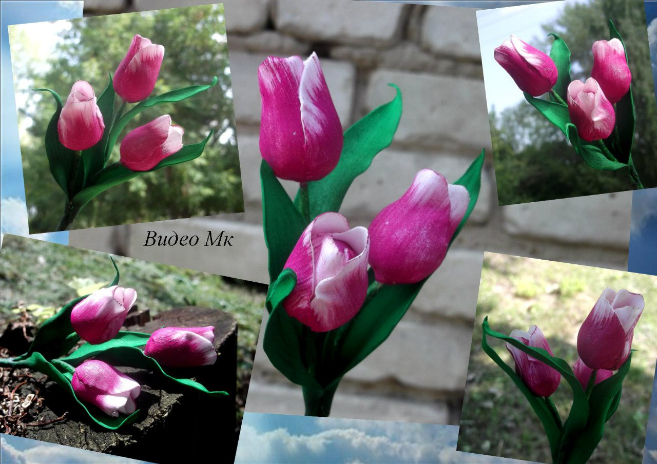 Тюльпаны из фоамирана мастер класс с пошаговым фото шаблоны