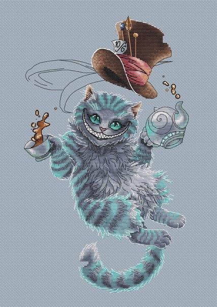 Чеширский кот схема вышивки